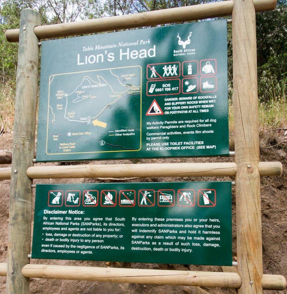 Informationstafel am Fuße des Lion's Head
