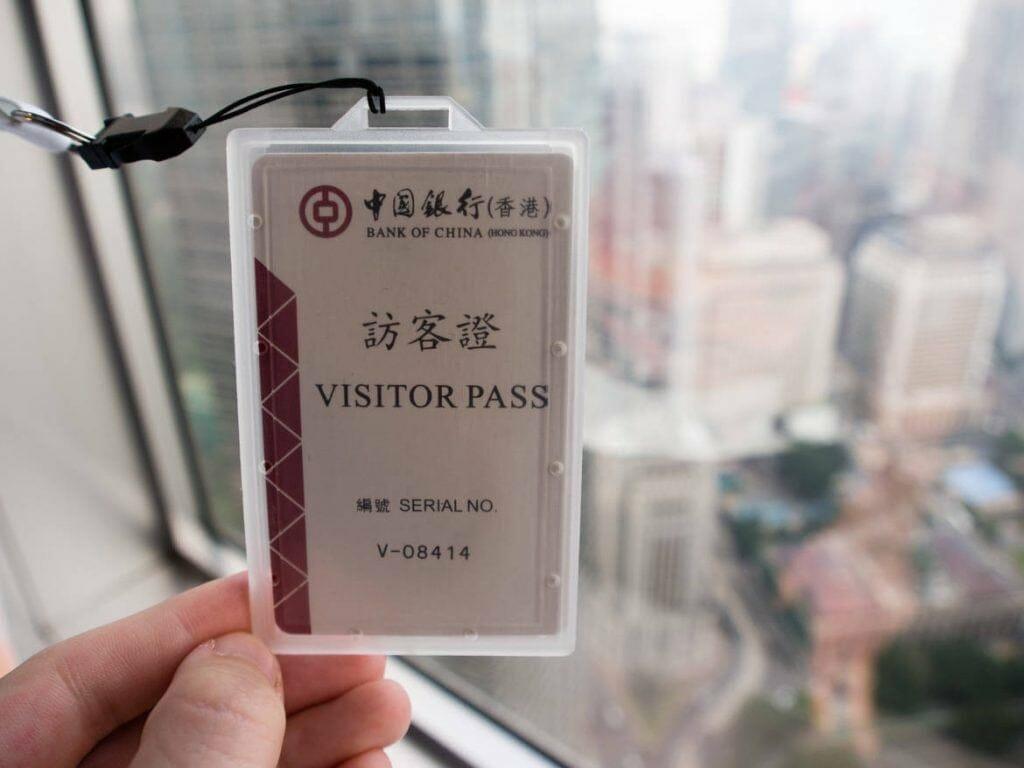 Visitor Pass Bank of China Tower in Hongkong