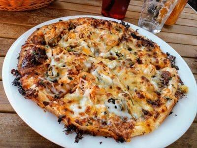 Pizza im Whiptail Restaurant in Springdale am Zion Nationalpark