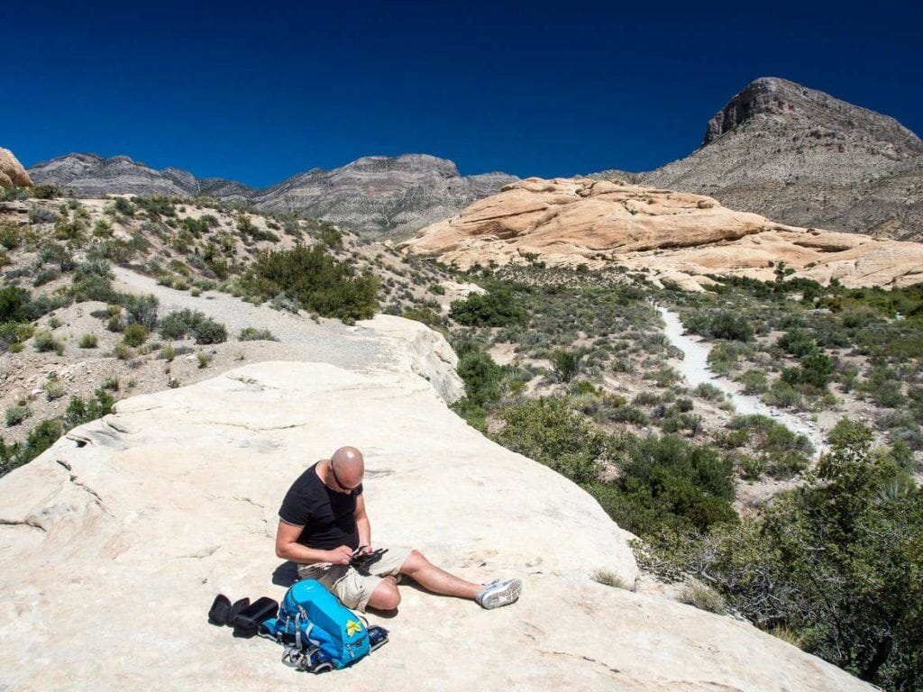 Vorbereitung der Drohne im Red Rock Canyon