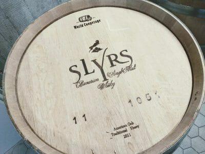SLYRS Fass in der Destillerie am Schliersee