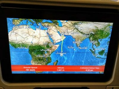 Reiseverlauf Emirates Bildschirm im Flugzeug