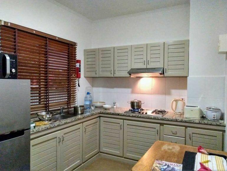 Küche in der Residence Praslinoise auf Praslin auf den Seychellen
