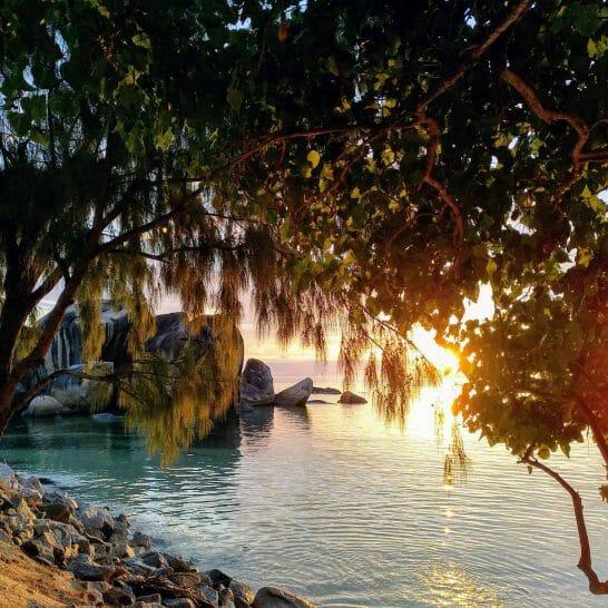 paradiesischer Sonnenuntergang Les Rochers Restaurant auf Praslin Seychellen