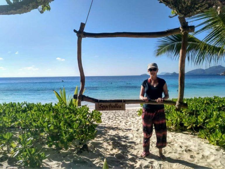 Foto mit Rahmen an der Petite Anse auf Mahe Seychellen