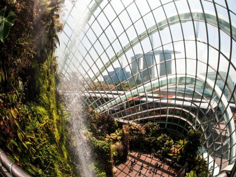 Wasserfall im Cloud Forest in Singapur
