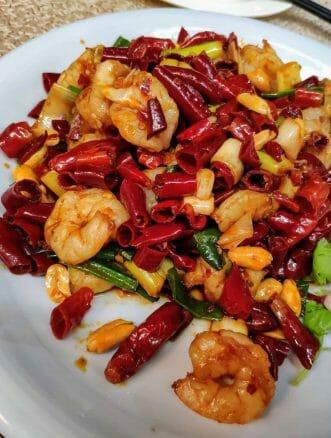Chili und Garnelen Gericht in Singapur