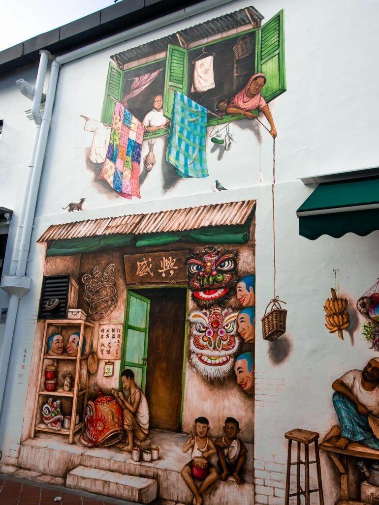 Streetart auf Mohamed Ali Lane Singapur