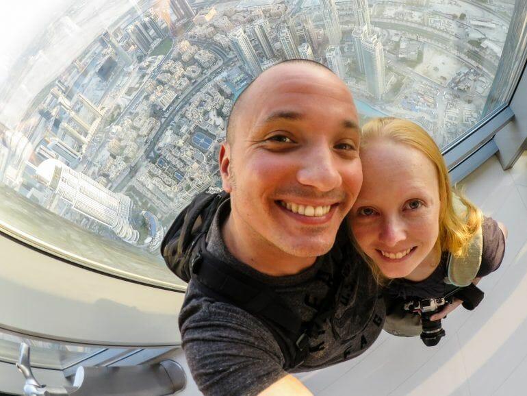 Sandra und Stephan auf dem Burj Khalifa Dubai